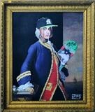 1st Baron Anson v. Lil Pump by Helen Gorrill, Painting, Oil paint and collage on board