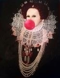 Girl with a pearl necklace (Bubblegum Queen Elizabeth 1) by Helen Gorrill, Painting