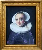 Portrait of a Young Lady with Black Eye, 1632 by Helen Gorrill, Painting, Oil paint and collage on board